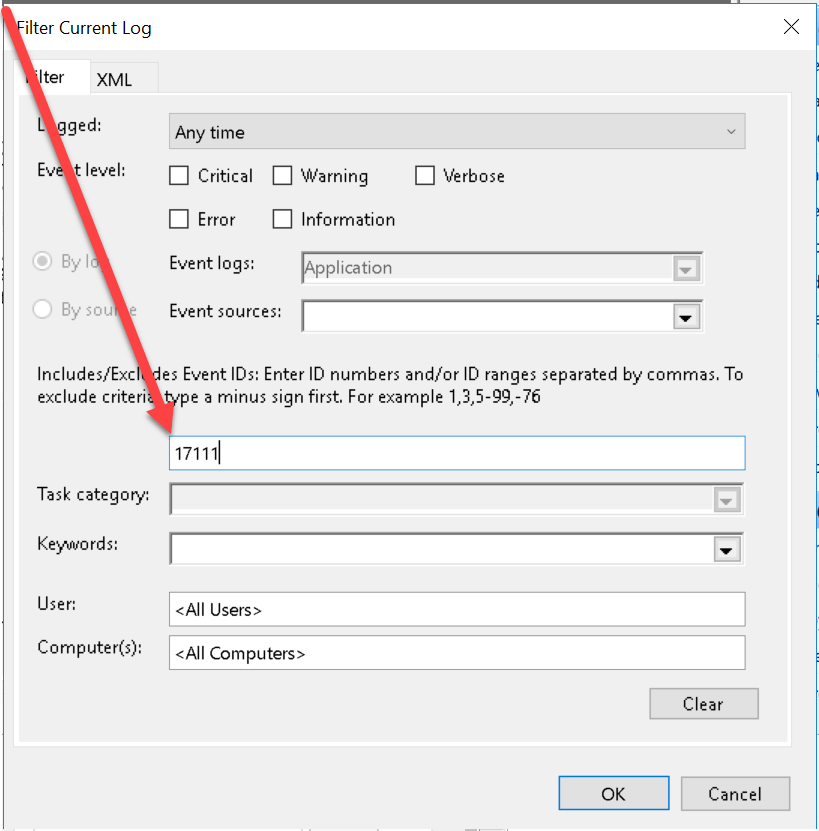 Adding filter to current log (Event Viewer).