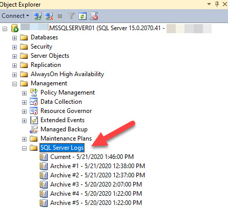 Show the location of SQL server logs in the SSMS.