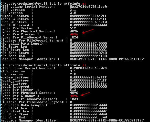 Identifies the bytes per cluster after run the ntfsinfo command.